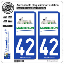 2 Stickers autocollant plaque immatriculation : 42 Montbrison - Ville