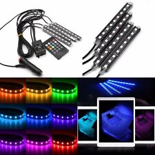 4 LED Car SUV Strip Light Interior RGB Atmosphere Decorative Neon Lamp Bulbs 12V