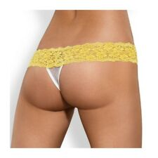 OBSESSIVE PACK TANGA + SHORTIES LACEA AMARILLO Y BLANCO L/XL
