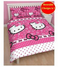Hello Kitty Sommer Wind Print Childrens Reversible Rotary Double Duvet Bed Set