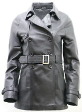 Women's 3/4 Black Ladies Lamb Nappa Leather Trench Coat