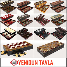 LARGE BACKGAMMON SET YENIGUN FOLDABLE WOODEN BOARD GAME HEAVY QUALITY