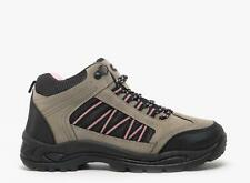 GRASSMERE Womens Ladies Scuff Lace-Up Hiking Trail Trek Ankle Boots Grey/Pink