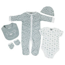 Baby Boys Girls Unisex Cotton 5 Piece Clothing Outfit Layette Gift Set Bear Face