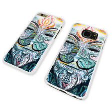 FLORAL PATTERN SKULLS  WHITE PHONE CASE COVER fits iPHONE / SAMSUNG (WH)