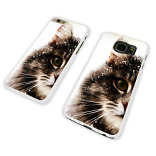 CAT IN SNOW  WHITE PHONE CASE COVER fits iPHONE / SAMSUNG (WH)