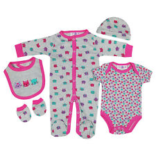 Baby Girls Cotton 5 Piece Clothing Outfit Layette Gift Set Cat Kitten Faces