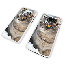CAT COVERED IN SNOW WHITE PHONE CASE COVER fits iPHONE / SAMSUNG (WH)