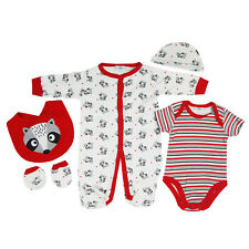 Baby Boys Girls Unisex Cotton 5 Piece Clothing Outfit Layette Gift Set Raccoon
