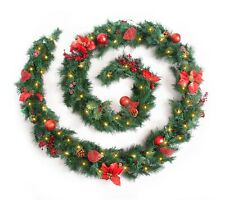 Best Artificial Decorated Red Luxury Christmas Garland & Warm White LED Lights
