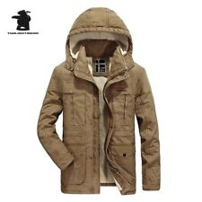 Coat Thicken Hooded Jacket Winter Warm Outwear Men Parka Fur Collar Down Pockets