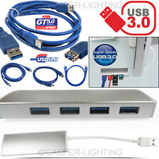 Aluminum 4 Port USB 3.0 Data Hub 5Gbps Adapter Extension Cable For Mac PC Laptop