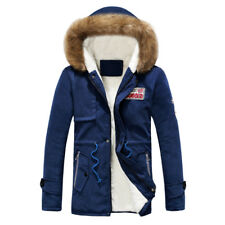 Men Fur Coat Thicken Jacket Hooded Warm Outwear Parka Winter Collar Down Cotton
