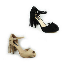 WOMENS LADIES PEEP TOE ANKLE STRAP TASSEL STILETTO HEEL SHOES SANDALS SIZE 3-8