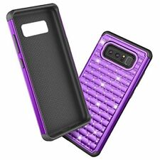 Samsung Galaxy Note 8 Case Bling Diamond Sparkly Shock Absorbing Cover Purple