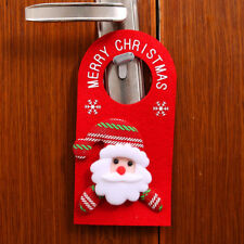 Christmas Snowman Santa Claus Elk Bear Doorknob Sign Door Hanger Xmas Home Decor
