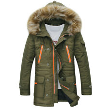 Fur Hooded Coat Jacket Men Outwear Warm Parka Winter Collar Down Cotton Thick
