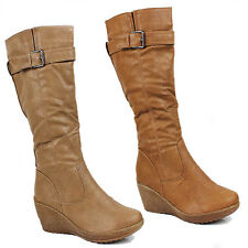WOMENS LADIES WINTER WEDGE HEEL BUCKLE FASHION KNEE HIGH BOOTS SHOES SIZE 3-8