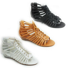 WOMENS LADIES WEDGE HEEL GLADIATOR LACE UP PEEP TOE ANKLE SANDALS SHOES SIZE 3-8