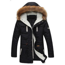Men Hooded Coat Parka Jacket Winter Warm Outwear Thick Fur Collar Casual Fashion