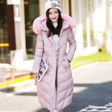 Women Fur Hooded Coat Warm Parka Jacket Winter Outwear Long Fleece Slim Overcoat