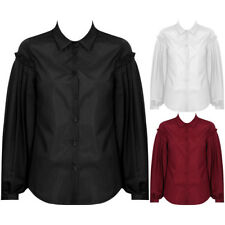 New Frill Pleated Puff Sleeve Blouse Shirt Collar Button Wide Casual Top