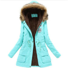 Women's Fur Collar Jacket Coat Warm Winter Outwear Parka Long Hooded Slim Fleece