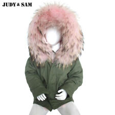 Kids Fur Raccoon Coat Hood Jacket Down Hooded Real Parka Lining Long Sleeves