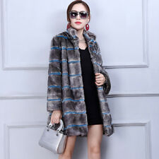 Women Warm Coat Jacket Winter Outwear Parka Long Slim Fleece Mandarin Collar Fur