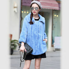 Blue Warm Women Coat Jacket Fur Winter Faux Outwear Parka Long Luxury Turn Down