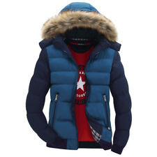 Men's Coat Fur Thick Hooded Collar Jacket Winter Parka Down Warm Cotton Outwear