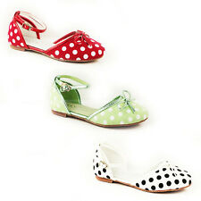KIDS GIRLS CHIRLDREN'S FLAT POLKA DOTS ANKLE STRAP SANDALS SHOES SIZE 11-4