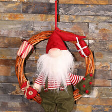 Christmas Hanging Rattan Door Wreath Ring Snowman Santa Claus Decor Pendant Kit