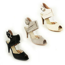 WOMENS LADIES PEEP TOE CUT OUT HIGH HEEL ANKLE COURT SHOES SANDALS SIZE 3-8