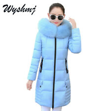 Women Fur Collar Jacket Winter Warm Coat Outwear Parka Hooded Long Coats Slim