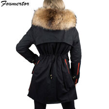 Women Fur Collar Jacket Clothing Warm Winter Outwear Coat Parka Hooded Long Slim