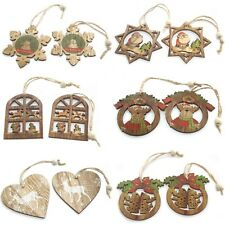 Pack of 2 Christmas Wooden Craft Hanging Tree Decorations - Xmas Set