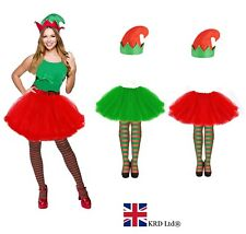 Ladies ELF TUTU COSTUME Girls Adult Christmas Party Fancy Skirt Dress Lot UK