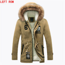 Men Coat Winter Jacket Long Parka Warm Outwear Fur Overcoat Trench Faux Slim