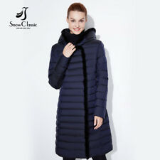 Women Coat Warm Winter Jacket Outwear Parka Long Slim Fleece Overcoat Fur Hooded