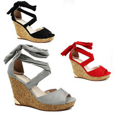 WOMENS LADIES PLATFORM CORK WEDGE HEEL TIE UP PEEP TOE SANDALS SHOES SIZE 3-8