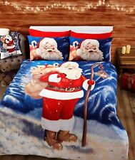Xmas Festive Season Santa Claus Father Christmas Design Bedding Duvet Cover Set
