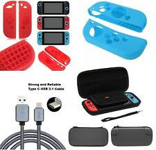 Nintendo Switch Joycons Accessories - Silicon Case Skin, EVA Pouch &Type-C cable