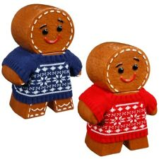 GINGERBREAD MAN COOKIE JAR & 100g BISCUITS - RED / BLUE KNITTED JUMPER XMAS GIFT