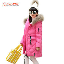 Girls Down Long Children Fur Hooded Outerwear Kids Jackets Duck Parka Coats Warm