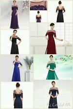 Chiffon Long Evening Dress Bridesmaid Prom Party Ball Gown 6 Size Dresses Lace 8