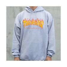 SUDADERA THRASHER FLAME HOOD GREY