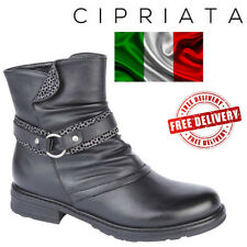 Cipriata Caterina Strap Zip Urban Style Biker Shoes Ankle Boots Black UK Sizes