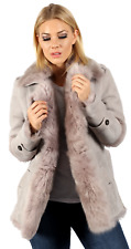 Women's Luxurious Grey Toscana Sheepskin Trench Coat with Belt