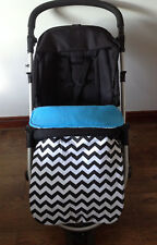 stay on put blanket black white chevrons blue cerise pink buggy pushchair new